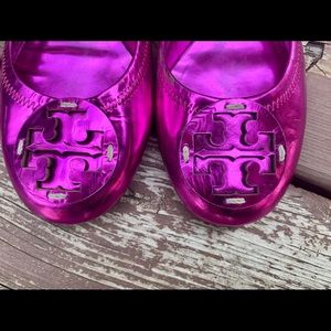 Tory Burch Shoes - Tory Burch Metallic Purple Reva Ballet Flats